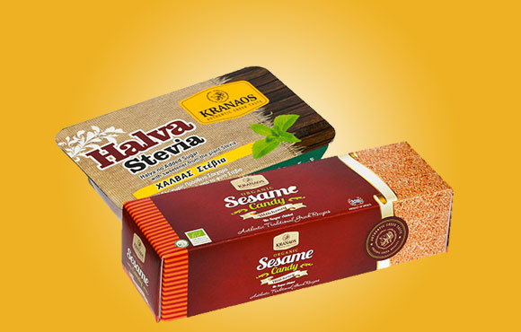 Organic sesame bar and halva with stevia